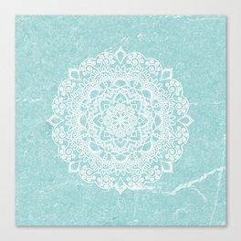 Mandala on concrete - teal Canvas Print