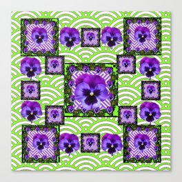 GREEN &  PURPLE PANSY ART ABSTRACT  PATTERN Canvas Print