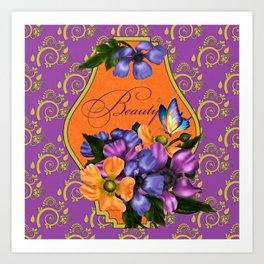 Paisley Anemones  Art Print