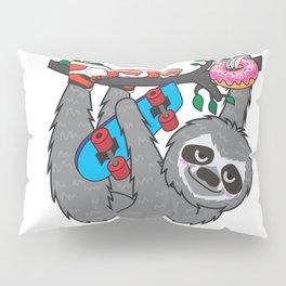 Skater Sloth and the donuts rain Pillow Sham