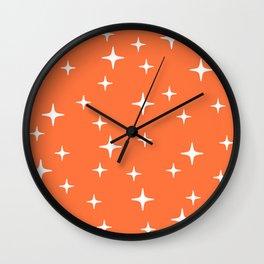 Mid Century Modern Star Pattern 443 Orange Wall Clock