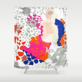Mica - Abstract painting in modern fresh colors navy, orange, pink, cream, white, and gold Shower Curtain