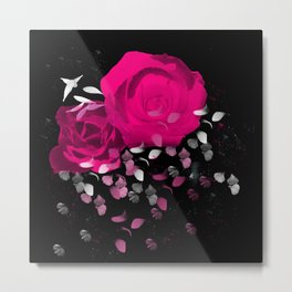 Vibrant Pink Roses On Black Background with Falling Petals Metal Print