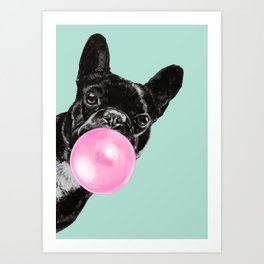 Bubble Gum Sneaky French Bulldog in Green Art Print