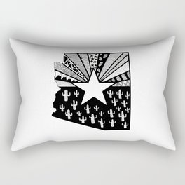 Black and White Arizona Patterned State Map Rectangular Pillow
