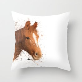 Brown and White Horse Throw Pillow