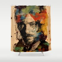 daryl Shower Curtains featuring Daryl Watercolor by Tracey Gurney