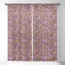 Pink Orange Yellow Zendoodle Sheer Curtain