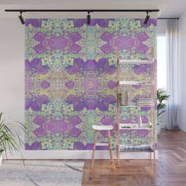 Spring Chinoiserie Stencil Pattern Lilac Purple Mint Green | Delicate Floral Asian Inspired Wall Mural