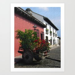 Flower Wagon at Old Antigua, Guatemala Art Print