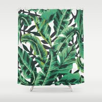 gray Shower Curtains featuring Tropical Glam Banana Leaf Print by Nikki