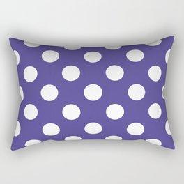Dark slate blue - violet - White Polka Dots - Pois Pattern Rectangular Pillow