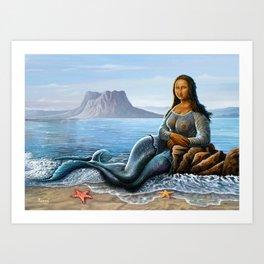 Monalisa Mermaid Art Print
