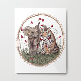 Tiger, Baby Elephant, and Mouse Playing in Poppies Metal Print