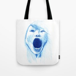 Woman Yawning or Screaming Tote Bag