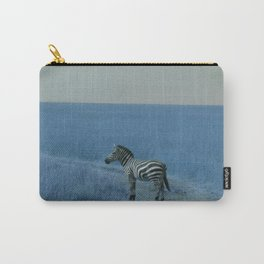 Zebra in Blue Carry-All Pouch