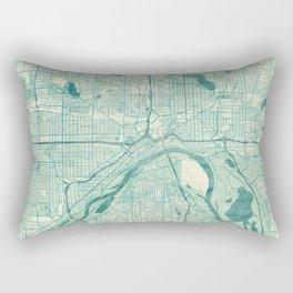 St Paul Map Blue Vintage Rectangular Pillow