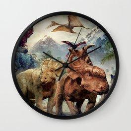 Jurassic dinosaurs playing Wall Clock