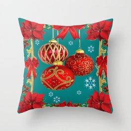 TEAL COLOR RED CHRISTMAS  ORNAMENTS &  POINSETTIAS FLOWER Throw Pillow