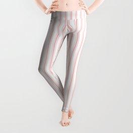 Thin Lush Blush Pink and White Mattress Ticking Stripes Leggings