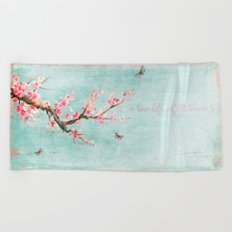 Live life in full bloom - Romantic Spring Cherryblossom butterfly  Watercolor illustration on aqua Beach Towel