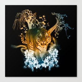 Beautiful tiger with flowers Canvas Print