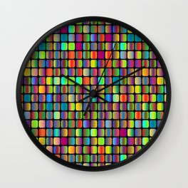 Colorful neon oval squares Wall Clock