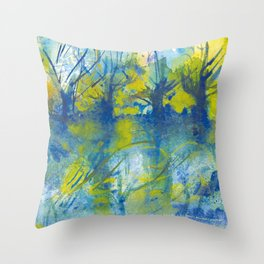 By the lake watercolor Throw Pillow
