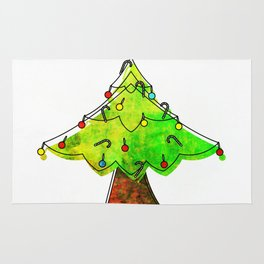 Watercolor Funky Chistmas Tree Rug
