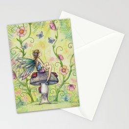 A Happy Place Flower Fairy Fantasy Art by Molly Harrison Stationery Cards