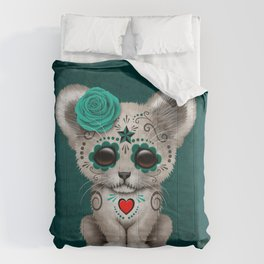 Teal Blue Day of the Dead Sugar Skull White Lion Cub Comforters