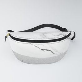 White Marble with Black and Grey Silver Stripe Fanny Pack