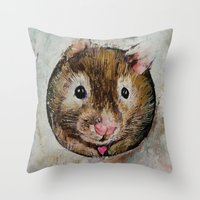 hamster Throw Pillows featuring Hamster Love by Michael Creese