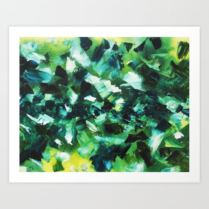 Yellow, Blue and Green Abstract Painting Art Print
