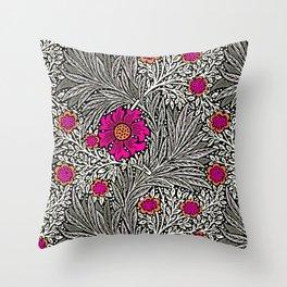 William Morris Marigold, Gray / Grey, and Fuchsia Throw Pillow
