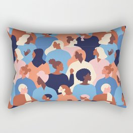 Female diverse faces of different ethnicity pattern Rectangular Pillow