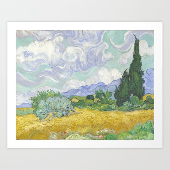 A Wheatfield with Cypresses by Vincent van Gogh Art Print