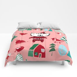 Cute Christmas cat pink Comforters