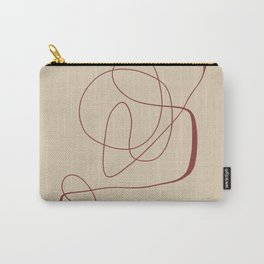 Janu Sirsasana - Minimalist Abstract Line Drawing in Maroon and Linen Carry-All Pouch