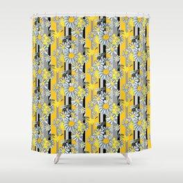 Yellow Gray Stripe lg WKS Shower Curtain