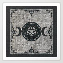 Black Magic Triple Moon Pentagram Star Art Print