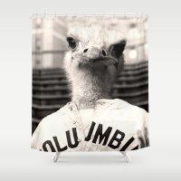 ostrich Shower Curtains featuring Baseball Ostrich by Luigi Tarini