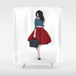 Romantic look, girl in red skirt Shower Curtain