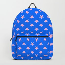 Cotton Candy Pink on Brandeis Blue Stars Backpack