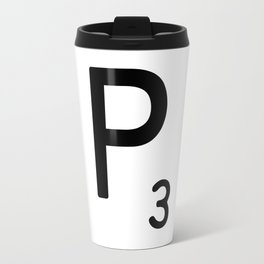 Letter P - Custom Scrabble Letter Tile Art - Scrabble P Initial Travel Mug