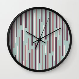 Interrupted Lines Mid-Century Modern Pattern in Celadon Mint and Plum Wall Clock