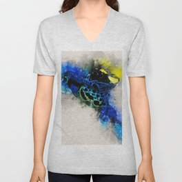 Dyeing poison dart frog soft watercolor print Unisex V-Neck