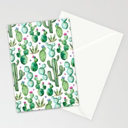 Watercolor Cactus Pattern Stationery Cards