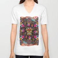 sugar skulls V-neck T-shirts featuring Crazy Sugar Skulls by Spooky Dooky