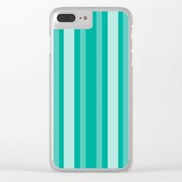 Aqua Victorian Lady Stripe Clear iPhone Case